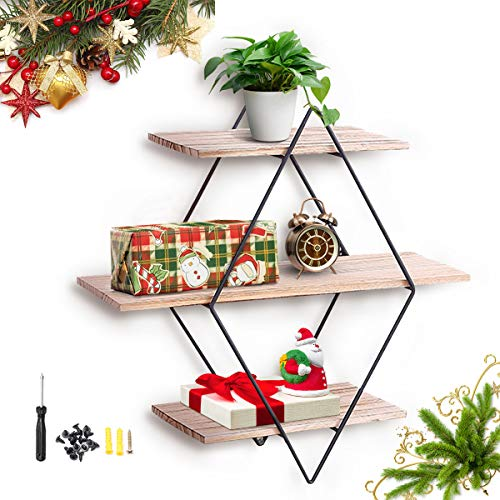 king do way Rustic Wood Wall Floating Shelves,Decorative Wall Shelf for Bedroom, Living Room, Bathroom, Kitchen, Office and More (Rhombus)