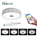 ELINKUME Music LED Ceiling Light, High Sound Quality Speaker + Bluetooth Control via Smart Phone APP (W Ceiling Light)