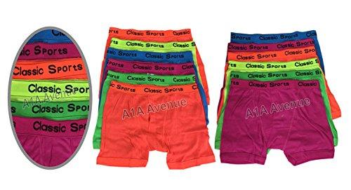 Large Short Couleur Avenue Néon Coton A1a Bande Homme Boxer Designer Vêtement Mode Sous Fluo 12 Paires xZxIdwU0