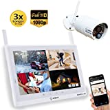 """Sequro GuardPro2 Plus 1080P Home Surveillance Camera System Wireless IP66 Outdoor Camera and 10-inch Touchscreen Monitor, Real Day and Night Vision for Home, Warehouse, Barn, Driveway (10"""" 1-cam kit)"""