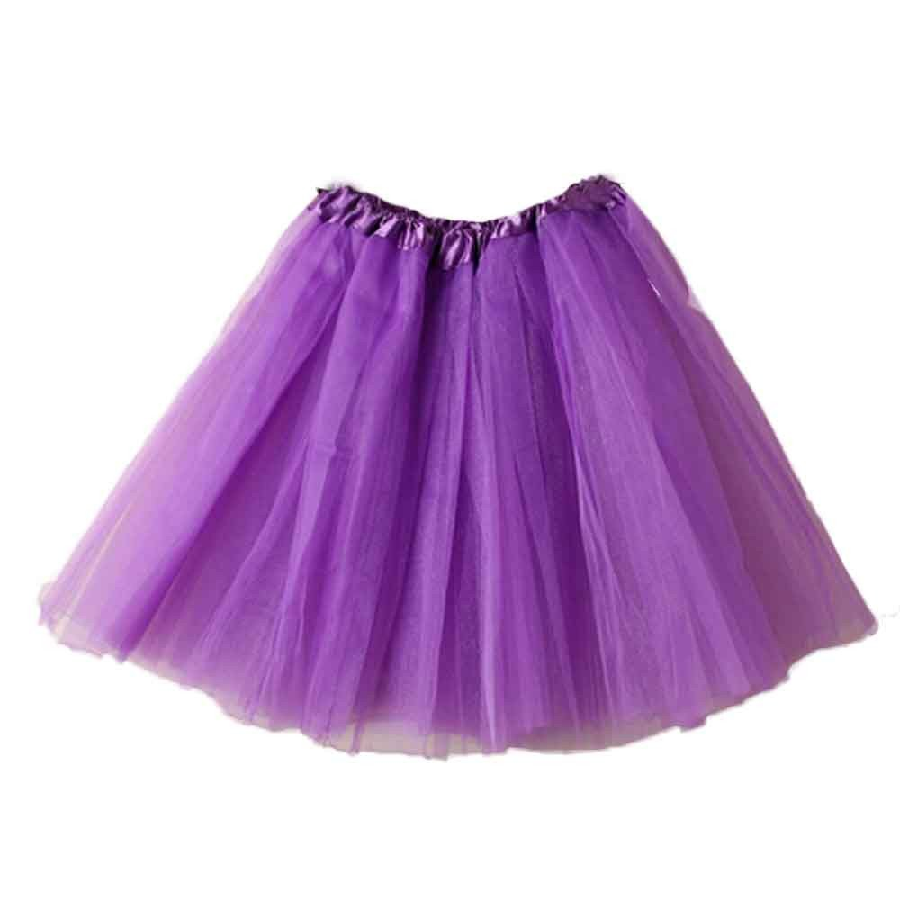 Misaky Women's Ballet Tutu Layered Organza Lace Mini Skirt (Lightpurple, One Size)