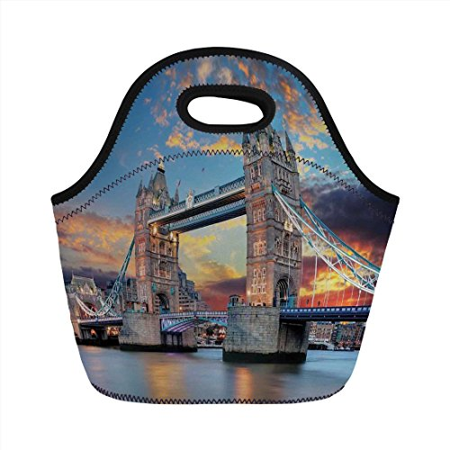 (Neoprene Lunch Bag,London,Vista of Tower Bridge at Dramatic Sunset Thames River with Grey Clouds,Light Blue Yellow Tan,for Kids Adult Thermal Insulated Tote Bags)