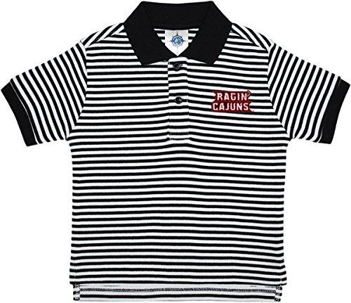 (Creative Knitwear University of Louisiana at Lafayette Ragin' Cajuns Striped Polo Shirt Black/White)