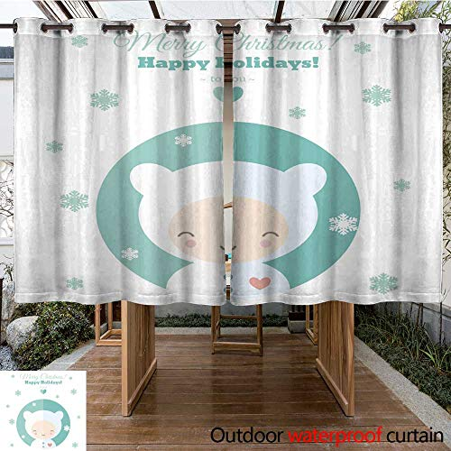- RenteriaDecor Outdoor Curtains for Patio Waterproof Greeting Card with Fun Child for Christmas in Flat W63 x L72