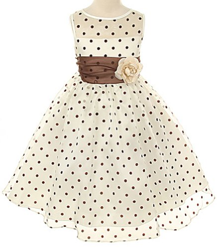 Kids Dream Little Girls Ivory Brown Organza Dot Flower Girl Easter Dress 4 -