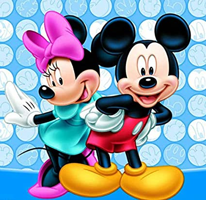 Minnie 12X16Inch 1 5D DIY Diamond Embroidery Crystal Rhinestone Cross Stitch Mosaic Paintings Arts Craft for Home Wall Decor Full Drill Diamond Painting Cartoon Mickey Mouse by Number Kits