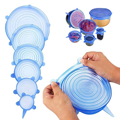 Foreverrise Stretch Lids, Super Silicone Stretch Lids Reusable and Durable Food Saving Cover, Fresh-keeping Cover, 6 pack Expandable to Fit Various Sizes and Shapes of Containers (blue)