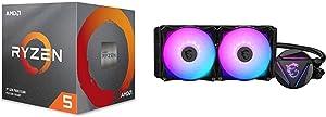 AMD Ryzen 5 3600XT 6-core 12-Threads Unlocked Desktop Processor with Wraith Spire Cooler + MSI MAG CORELIQUID 240R - AIO RGB CPU Liquid Cooler - 240mm Radiator - Dual 120mm RGB PWM Fans