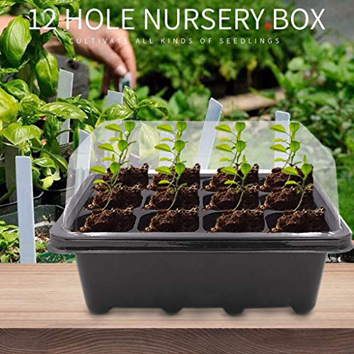 BeGrit 12-Cell Seed Tray Plant Germination Trays 4 Pack Seed Propagator Tray Set Cavity Insert Starter Trays Plant Starter Kit (19cmx11cmx14cm) with Plastics Plant Label for Greenhouse