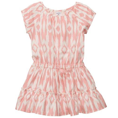 Carter's Girls Cap-sleeve Twill Print Dress (3T, Pink)
