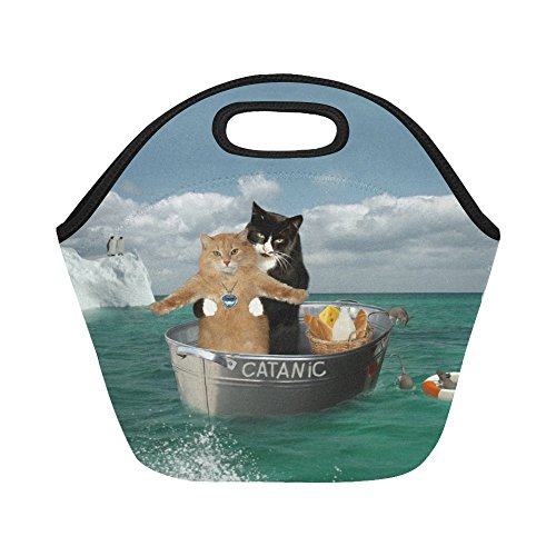 InterestPrint Insulated Lunch Tote Bag Brave Cats Ocean Ship Reusable Neoprene Cooler, Animals Nautical Boat Portable Lunchbox Handbag for Men Women Adult Kids Boys Girls -