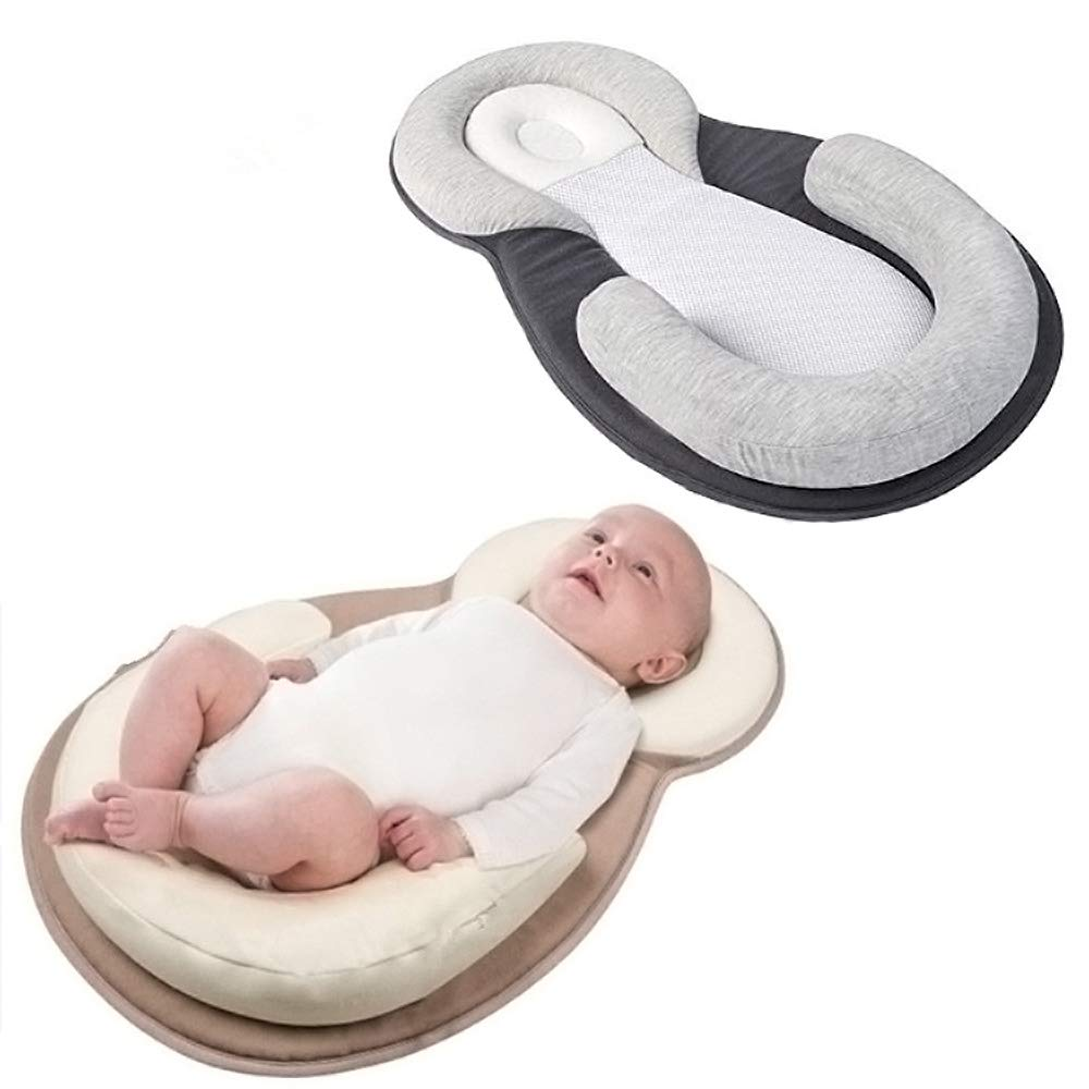 Baby Infant Seat Lounger,Luxury Baby Head and Body Support Stereotyped Pillow - Prevention of Spilled Milk (Gray)