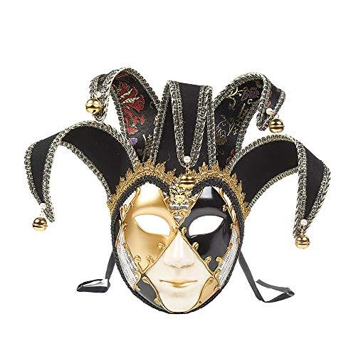 Christmas Party High-End Mask,Full Face Venetian Joker Masquerade Theater Mask Mardi Gras Party Ball Mask