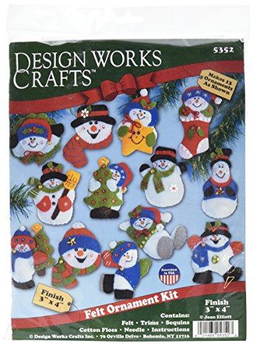 Tobin Lots of Fun Snowmen Ornaments Felt Applique Kit, 3-Inch by 4-Inch, Set of 13 ()
