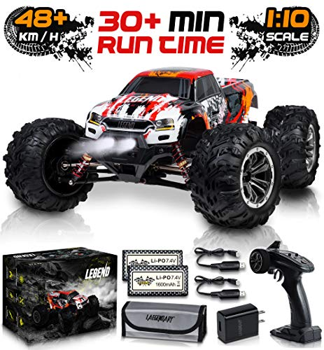 1:10 Scale Large RC Cars 48+ kmh Speed – Boys Remote Control Car 4×4 Off Road Monster Truck Electric – All Terrain Waterproof Toys Trucks for Kids and Adults – 2 Batteries + Connector for 30+ Min Play