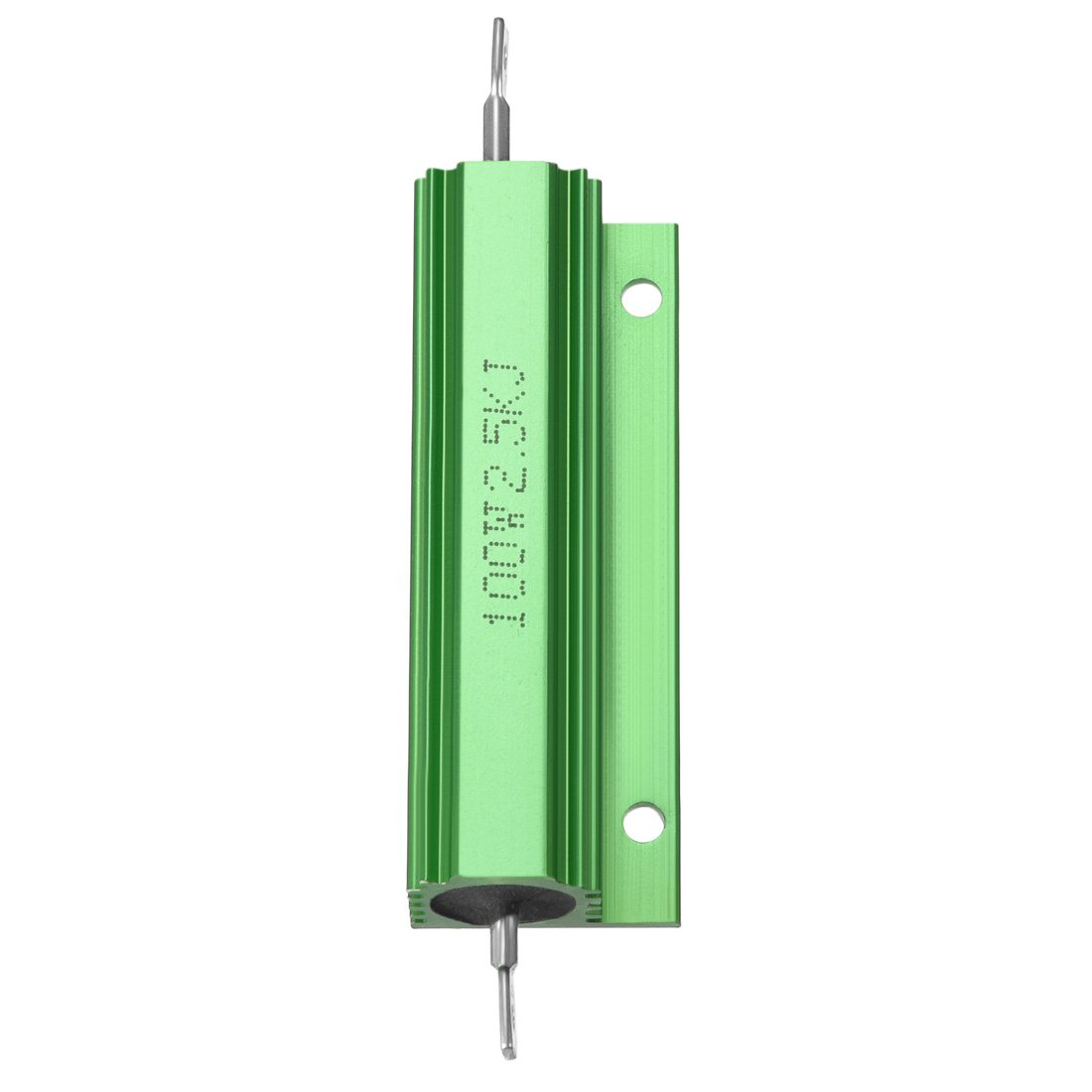 sourcingmap 2 Pcs Aluminum Case Resistor 100W 2.5k Ohm Wirewound Green for LED Replacement Converter 100W 2.5k RJ