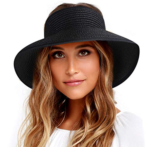 65406e2a1 Sun Visor Hats for Women Wide Brim Straw Roll Up Ponytail Summer Beach Hat  UV UPF 50 Packable Foldable Travel FURTALK