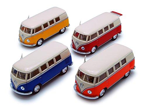1962 Volkswagen Bus - 1962 Volkswagen Classical Bus, SET OF 4 - Kinsmart 5377D - 1/32 scale Diecast Model Toy Cars