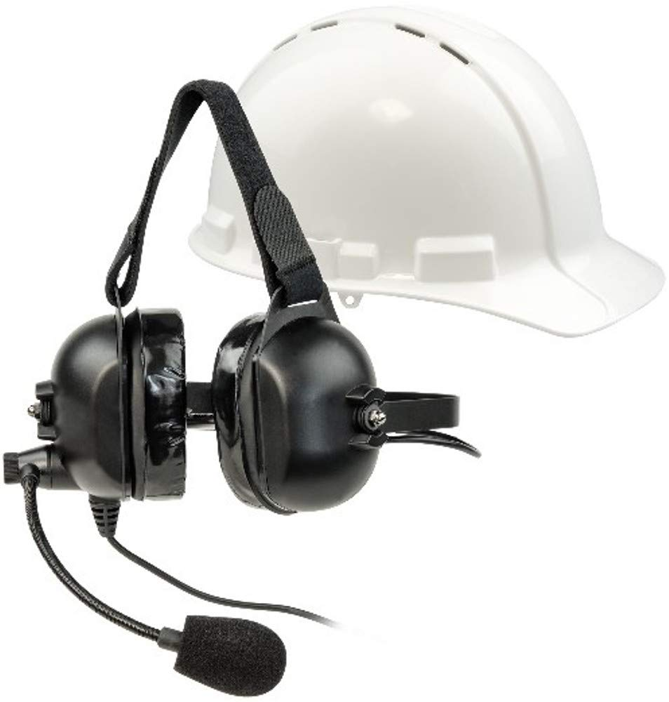 Listen Technologies LA-455 ListenTALK Headset 5 Over Ears Industrial with Boom Microphone, Black for use with LK-1 ListenTALK Transceiver, Ideal for Industrial and Other High-Noise Environments