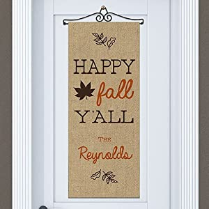 "GiftsForYouNow Happy Fall Ya'll Personalized Door Banner, 13"" x 33"" 120"