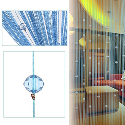 String Curtain Panel, Colorful Beads Door Wall Window Doorways Panel Fly Screen Fringe Room Divider Blinds, Decorative Tassel Ribbon Strip Screen for Living room, Bedroom, Party Events (Blue)