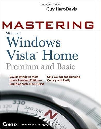 Book Mastering Microsoft Windows Vista Home: Premium and Basic by Guy Hart-Davis (2007-02-05)