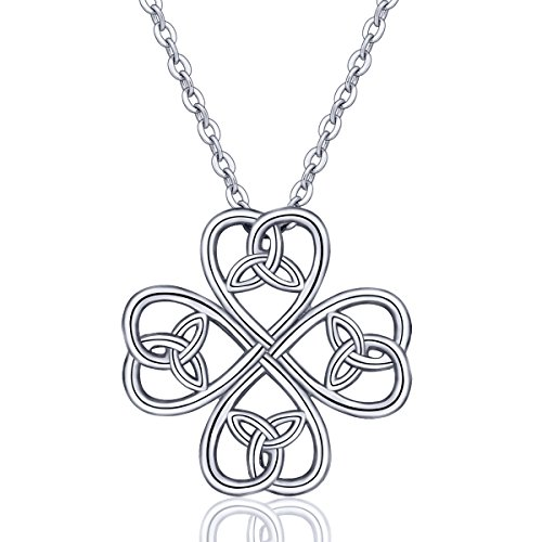 (INFUSEU Sterling Silver Irish Celtic Knot Four Leaf Clover Trinity Triquetra Triangle Eternity Love Pendant Necklace for Women Jewelry)