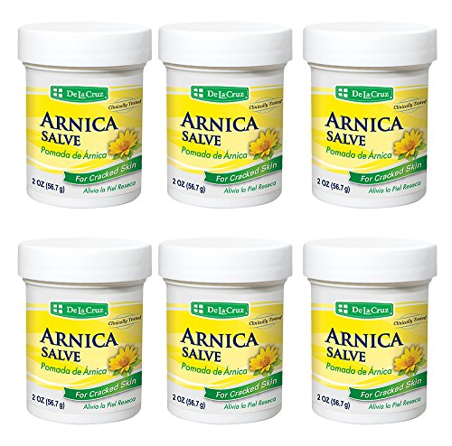De La Cruz Arnica Salve for Cracked Skin, No Preservatives, Artificial Colors or Fragrances, Made in USA 2 OZ. (6 Jars )
