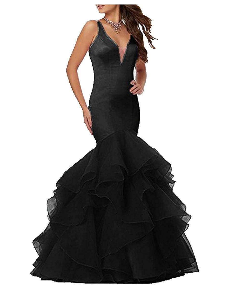 Black FWVR Women's V Neck Backless Long Evening Prom Dresses Mermaid Formal