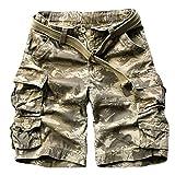 Shorts for Men, F_Gotal Men's Casual Pure Color Multi-Pocket Overalls Sports Pants Training Jogger Shorts Sweatpants Gold