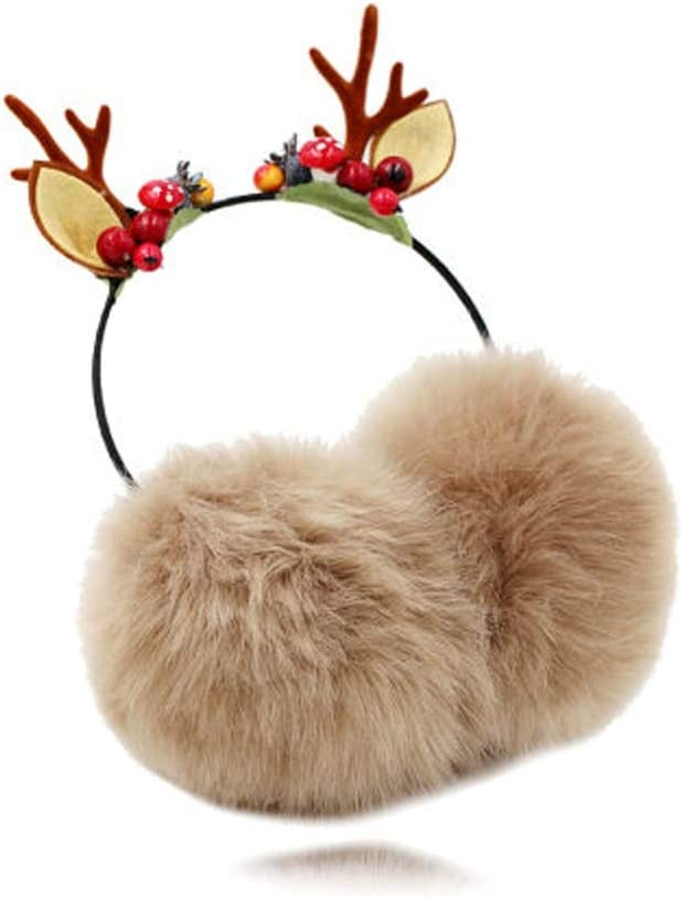 Cartoon Simple Geometric Shapes Pattern Winter Earmuffs Ear Warmers Faux Fur Foldable Plush Outdoor Gift