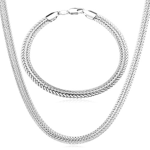 - U7 Men Rock Street Punk Jewlery Platinum Plated 6MM Wide Foxtail Link Bracelet Necklace Set, 28