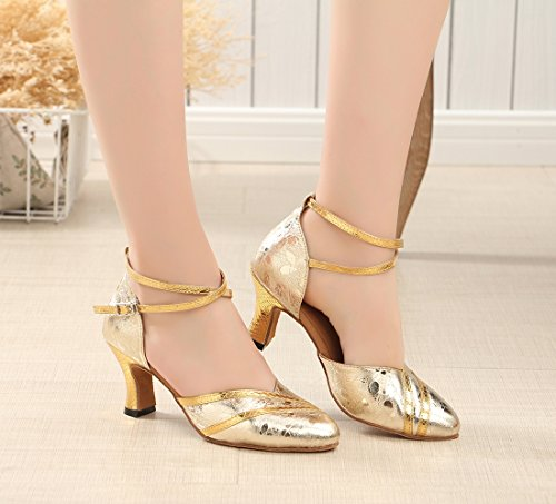 Party Formal Print Wrap Dance Ankle Rumba Joymod Wedding 6cm Toe Gold Samba Synthetic Closed Latin Salsa Women's Heel Tango MGM Ballroom Modern Shoes Pumps 0nTqYIHq