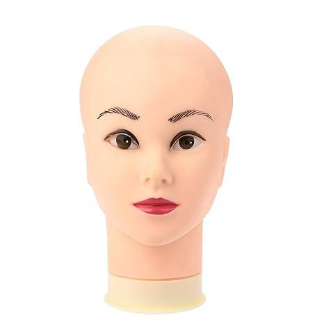 Anself Maniquí de cabeza femenino de silicona para aprendizaje de salón o exhibición de joyería peluca