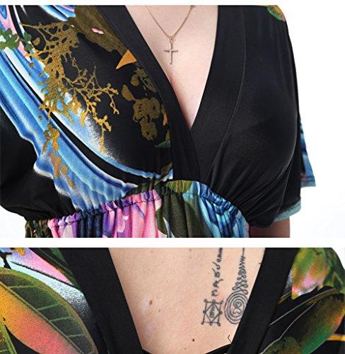 Beach Grande Printemps noir couleur Plage Resort Noir Xl Longue Sexy Dd Jupe xxxxxxxl Taille V Xxxxxl Noir Maxi Cou Emballage De Robe 1 eté nw0WzRXq6
