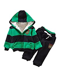 Boy's Hoodies Stripe Coats Snowsuit Sets(Coat*1+Pant*1) 2t-6t
