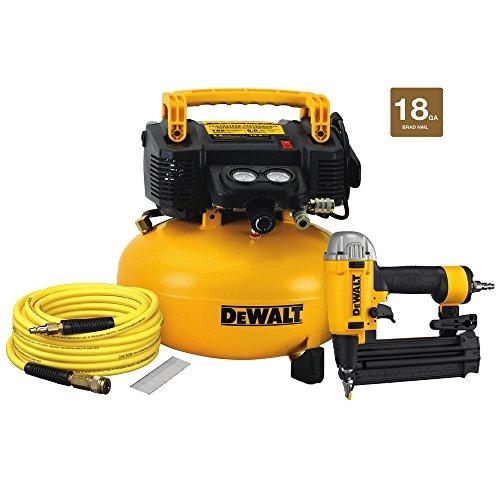(DEWALT DW1KIT18PP 18-Guage Brad Nailer 6 Gal. Heavy Duty Pancake Compressor )