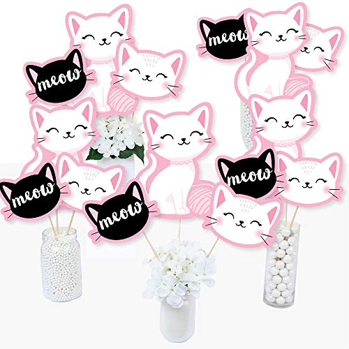 (Purr-FECT Kitty Cat - Kitten Meow Baby Shower or Birthday Party Centerpiece Sticks - Table Toppers - Set of 15)