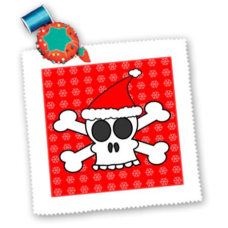 3dRose qs_6363_1 Skull and Crossbones Red Santa Hat Snowflakes Quilt Square, 10 by 10-Inch