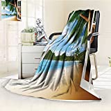 YOYI-HOME Heavy Duplex Printed Blanket Nautical Theme Window View of Palm Trees on Sand Photo Landscape Image Green Ivory Blue Anti-Static,2 Ply Thick,Hypoallergenic/W86.5'' x H59