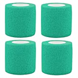 PPDD Self Adherent Bandages Cohesive Wrap First Aid Tape Band Elastic Non-woven for Finger Elbow Knee Toe Wrist Ankle Athletic Sports Pet Supply 2 Inch X 5 Yards 4 Count (Lake Green)