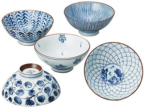 Snack Pottery - Saikai Pottery Traiditional Japanese Rice Bowls (5 bowls set) 31623 from Japan