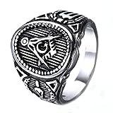 ZNKVJ Male's And Men's Titanium Steel Retrol AG Masonic Rings,Silver,Size 14