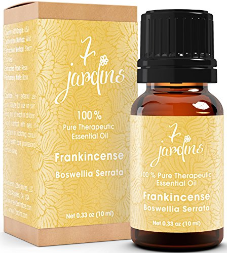 Premium Frankincense 100% Pure & Natural Therapeutic Grade Essential Oil. Olibanum 10 ml - For Aromatherapy, Anti Aging, Reducing Inflammation, Arthritic Pain & Scar Tissue - By 7 Jardins by 7 Jardins