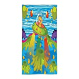 31.49''W x 62.99''L Cotton Microfiber Bath/Hand Towel,Outer Space Decor,For Kids Scary Monster in Ufo on Planet Solar System Galaxy Funky Back,Green Blue,Ultra Soft,For Hotel Spa Beach Pool Bath