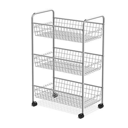 Multipurpose 3-Tiered Utility Cart, Mesh Storage Rolling Cart