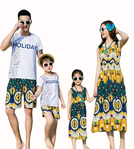 Elufly Summer Family Matching Outfits Floral Mommy Daughter Dresses & Daddy Babies T-Shirt Pants Parent-Child Clothing (Girls A, Size 110) -