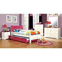 Kimmel Pink & White Finish Full Size 5-Piece Bedroom Set