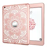iPad Air Case, iPad A1474/A1475/A1476 Case, Hocase Shock Absorbent Hybrid Dual Layer Hard Silicone Rubber Protective Case with Cute Floral Print for iPad Air 1st Generation (2013) - Rose Gold