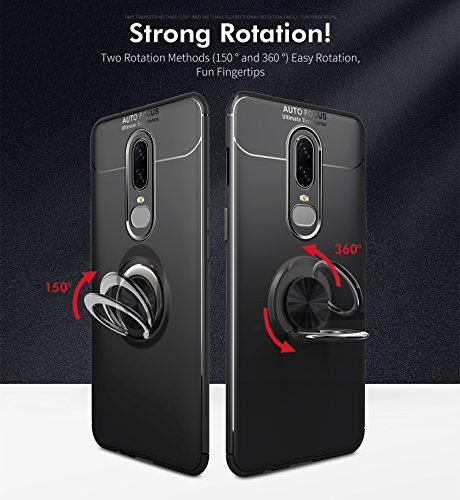 OnePlus 6T Case with HD Screen Protector,I VIKKLY Slim Flexible and Durable Soft [TPU] 360 Degree Rotating Ring Kickstand Shockproof Case Fit Magnetic Car Mount for OnePlus 6T 6.4'' (2018) (Red) by I VIKKLY (Image #6)